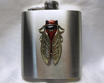 Flask, Stainless Steel,  Large Cricket Cicada Bug  6 Ounce  Mens Womens Gift  Handmade