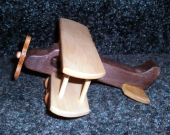 Small Wooden Biplane Handcrafted