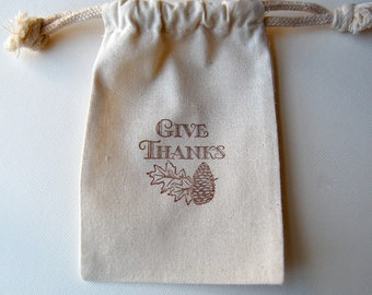Thanksgiving Favor Bags / Set of 20 / Give Thanks Favor Bags
