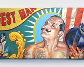 The Strongest Man - canvas print - Circus -  mustache -  gesture portrait - oil painting - retro - Tattoos - old navy - carnival - weights -