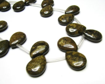 "1 Large Pair Natural Bronzite Briolettes, Smooth Semi Precious Stone Beads, Metallic Brown, Gold, Bronze - approx. 1"" L, 3/4"" W, (25x18mm)"