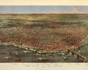1874 Panoramic View of St. Louis