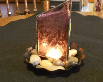 Pink Stained Glass Geometric Candle Holder