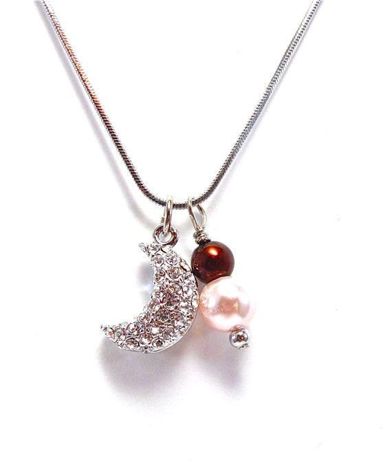 Gamma Phi Beta Silver Crystal Crescent Necklace -  Pink and Brown Beaded Sorority Necklace - Half Moon  - Celestial - Space - Greek Jewelry