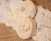 Store Liquidation Sale ... Keepsake ivory bridal rosette lace garter