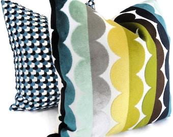 Jonathan Adler Multicolor Semi Circle Velvet Decorative Pillow Cover, Accent Pillow, Throw Pillow, Pillowcase