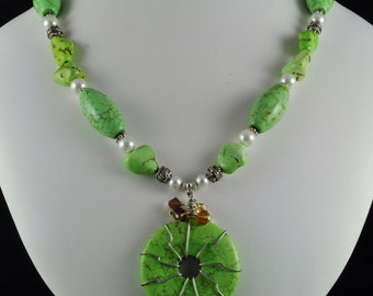 Chunky Green Turquoise Necklace With Matching Earrings