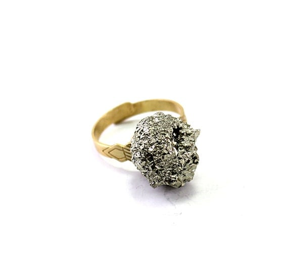 Pyrite ring: crystal ring, rough stone adjustable ring, raw natural gold brass, sparkly handmade jewelry golden