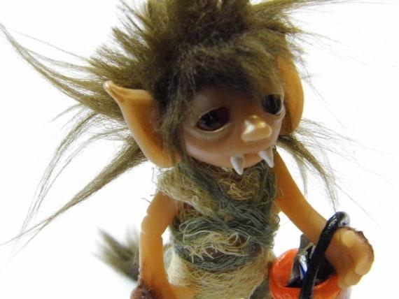 "OOAK Handmade Polymer Clay Elfin ""Stewie"" In Werewolf Costume (Getting Ready For Halloween) RESERVED For Gemma"