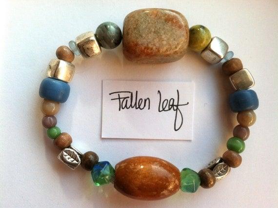 Fallen Leaf bracelet Fall Leaf Hippie Boho Rock Earthy Pastel Beaded Elastic Jewelry