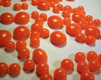 Kiln Formed Opaque Orange Glass Bubbles 125 Pieces (B449)