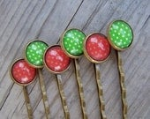 Glass Dome Hair Pins Red Green Christmas Colors - gristmilldesigns