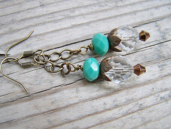 Brass Faceted Czech Glass Dangle Earrings