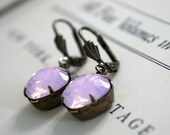 Rose Water Opal Swarovski Crystals, Cushion Cut Square, Oxidized Brass, Estate Style, Pink Opal, Pale Pink, Gift For Her