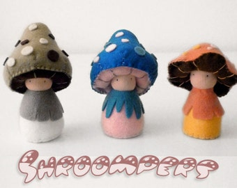 Organic kid's plush mushroom toys, wool felt, Waldorf toys - Rinus, Cybian, and Gropher