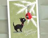 Christmas Kitty Vintage Style Holiday Card - Seasons Greetings - Blank Note and Envelope