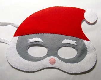 Santa Claus felt Christmas mask / white red grey / handmade costume for boys girls adults / soft dress up play accessory / Theatre roleplay