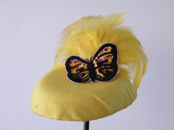 Yellow silk cocktail hat for women with feathers and butterfly - golden fascinator with sequin