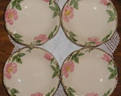 Vintage California Pottery Franciscan Desert Rose Berry Dessert Ice Cream Bowls 4 Black TV Mark
