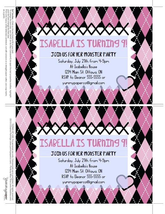 monster high party theme - lifes little celebration, Party invitations