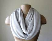 Beige Infinity Scarf with Metallic Silver Accents - Lightweight Knit Loop Scarf - Circle Scarf - Infinity Cowl