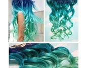 Blue Lagoon, Blue Green Ombre Dip Dyed Human Hair Extensions, bundle, Full Set Clip In Extensions, Hippie, Festival, The Dye Hair, Hair Weft