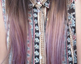 Handmade Ombre Dip Dyed Hair, Clip In Hair Extensions, Tie Dye Tips, Red Hair,  Hair Wefts, Human Hair Extensions, Hippie hair