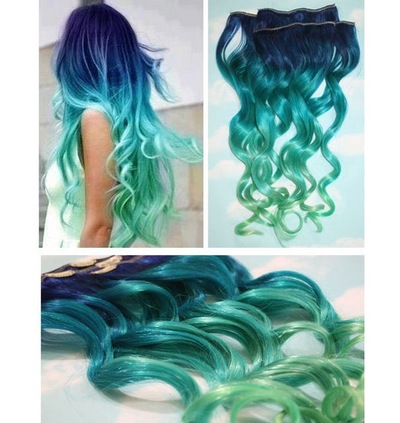 Blue lagoon blue green ombre dip dyed human hair extensions like this item pmusecretfo Choice Image