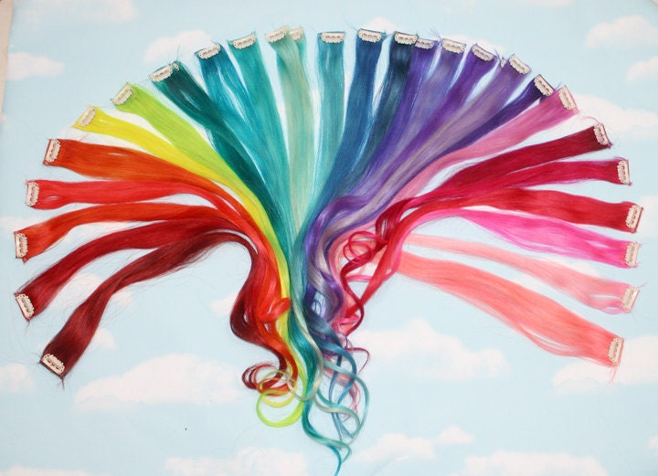 Rainbow colored human hair extensions colored hair extension zoom pmusecretfo Image collections