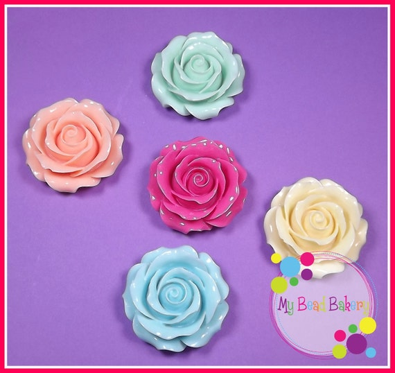 1 Piece 53mm Large Resin Rose Flatback Cabochon DIY Crafts 5 Color Choices You Pick