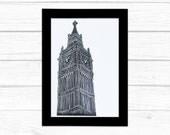 London Big Ben lino print