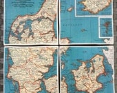 Vintage Atlas Map Coasters - Denmark and Iceland Set of 4