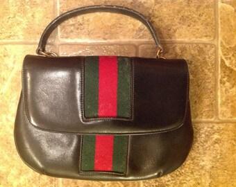 Vintage GUCCI Red & Green Signature Webbing Handbag/Shoulder Bag