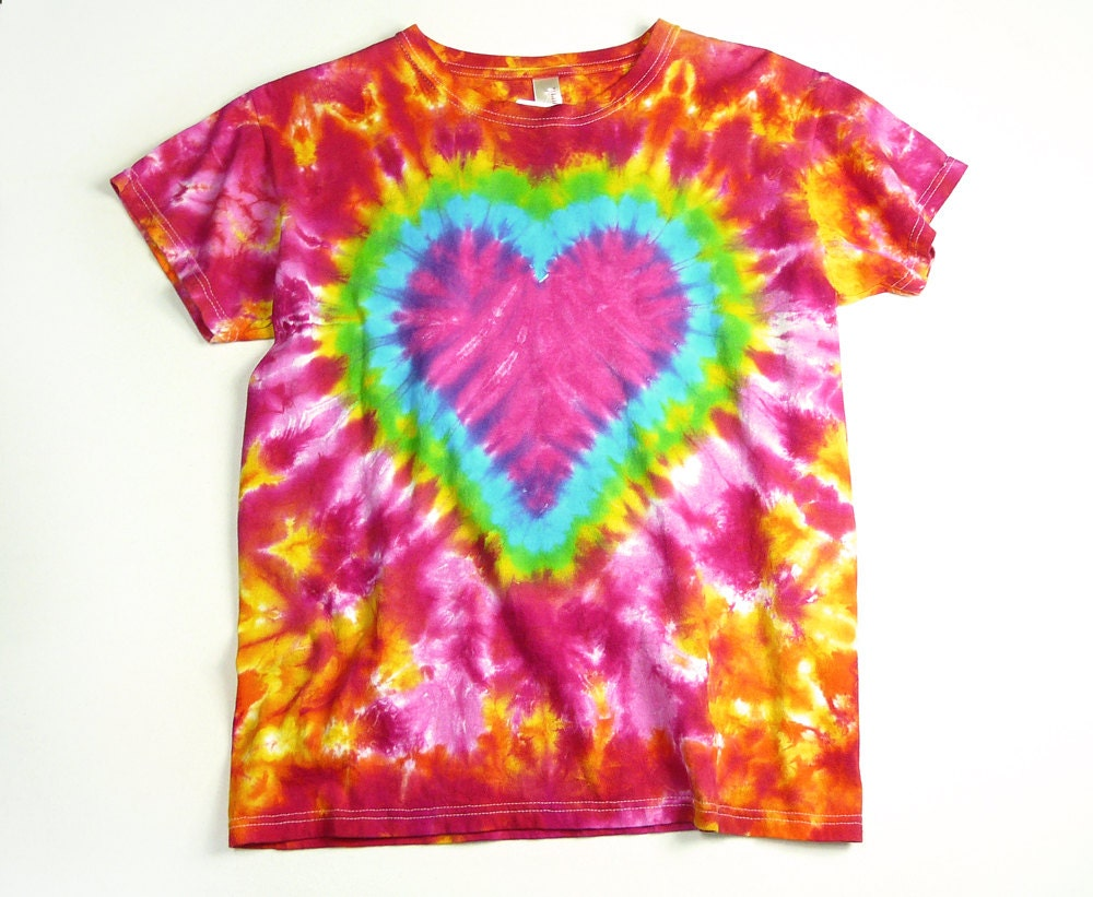 Ladies Tie Dye Shirt Pink Heart Valentine Womans T Shirt