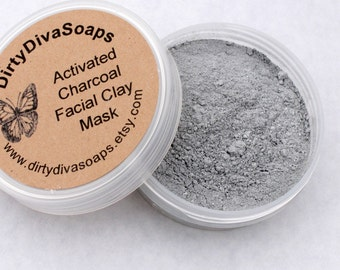 All Natural Bamboo Activated  Charcoal Facial Clay Mask For Blemished Skin, 3.5 Oz Organic Skin Care/
