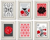 Set of Six Modern/Vintage Red/Black Wall Art - 8x11 Print Set - Home Decor - For Home (Unframed)