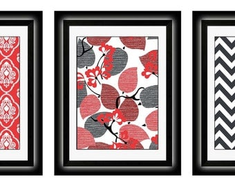 Set of Three Modern Red/Gray Art Print (Unframed)