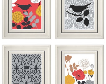 Set of Four Modern Autumn Bird Wall Art - Print Set - Home Decor - 8x11 Print (Unframed)