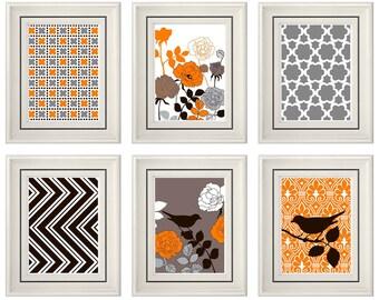 Set of Six Modern/Vintage Orange/Brown Wall Art - 8x11 Print Set - Home Decor - For Home (Unframed)