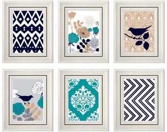 Set of Six Modern/Vintage Turquoise/Beige Wall Art - Print Set - Home Decor- Gift (Unframed)
