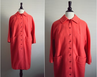 60s Sweet Orange Mod Swing Coat. Mad Men Outerwear. Size M/L