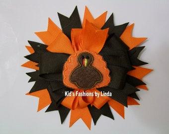 Brown/Orange Hair Bow with Turkey Center