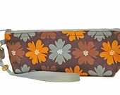 Earth Toned Zipper Pouch, Floral, Handmade, Brown, Yellow Orange, Light Gray