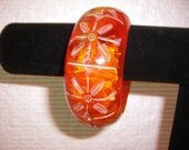 Vintage Chunky Lucite Deeply Carved Tangerine Cuff Bracelet JUST BEAUTIFUL