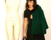 Perfect condition 1960's Fur and Wool Emerald Green Coat