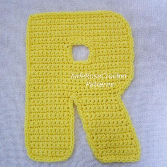 Crochet Letters Pattern R Alphabet Appliques and 3D Accent ...