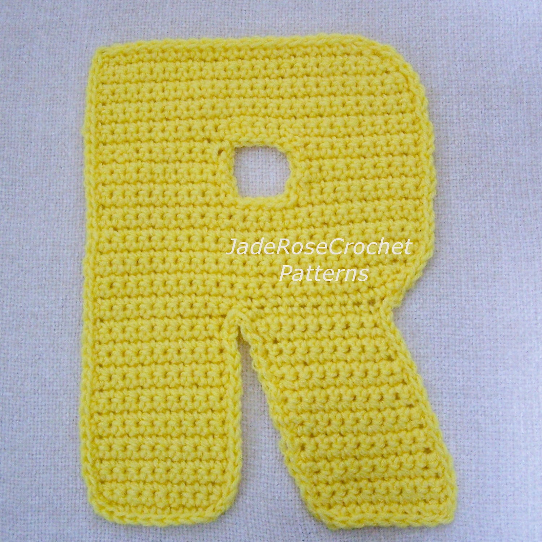 Crochet Letters Pattern R Alphabet Appliques and 3D Accent