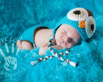 Newborn Baby Boy Crochet OWL with Braids Blue n Brown Diaper Cover -n- Beanie Hat Set -- Adorable Photo Prop