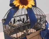 Birdcage Wedding Card Holder / Card Box / Birdcage Cardholder / Sunflower Wedding Decorations / Rustic Wedding Birdcage Card Holder