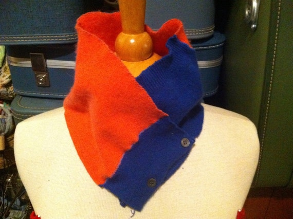 Royal blue and orange cashmere scarflette.  Cowl with button closure.